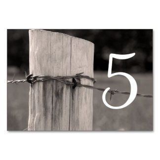 Rural Fence Post Country Wedding Table Numbers Table Card