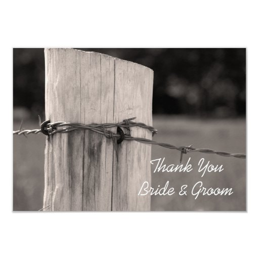 Thank You Letter For Wedding Invitation: Rural Fence Post Country Wedding Thank You Note 9 Cm X 13