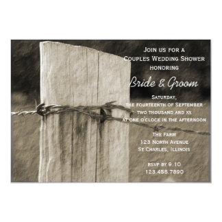 Rural Fence Post Couples Country Wedding Shower 13 Cm X 18 Cm Invitation Card