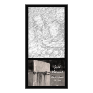 Rural Fence Post Just Married Photo Card