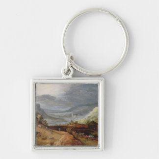Rural Landscape with a Farmer Bridling Horses, a P Silver-Colored Square Key Ring