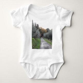 Rural landscape with asphalt road in the autumn baby bodysuit