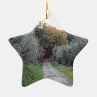 Rural landscape with asphalt road in the autumn ceramic ornament