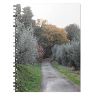 Rural landscape with asphalt road in the autumn notebook