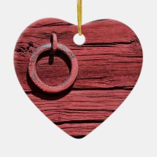 Rural Red Wooden Barn Wall Romantic Heart Ceramic Ornament