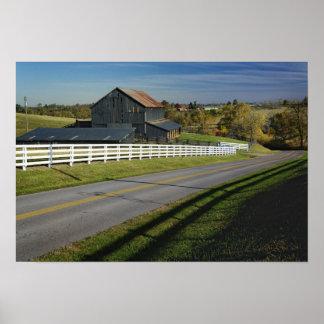 Rural road through Bluegrass region of 2 Poster