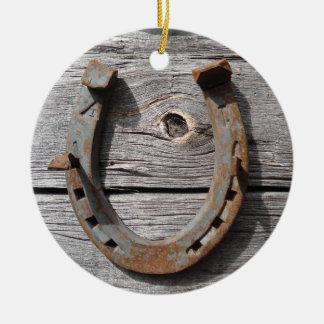 Rural Rusty Horseshoe Hanging Xmas Pendant Ceramic Ornament