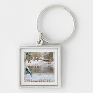 Rural Snow Scene Silver-Colored Square Key Ring