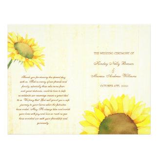 Rural Sunflowers Wedding Ceremony Bi Fold Programs 21.5 Cm X 28 Cm Flyer