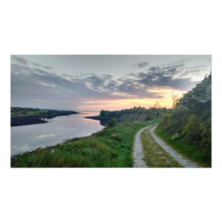 Rural sunset over Galway Bay photo print