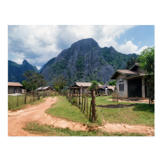 Rural Village Houses near Vang Vieng, Laos Postcard