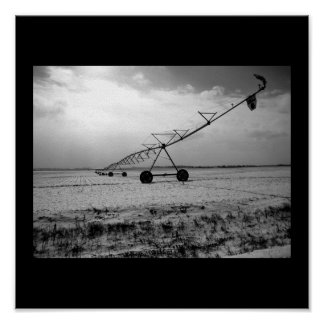 Rural Winter Farm Irrigation B&W Poster