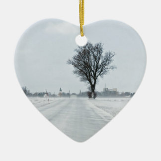 Rural winter road ceramic heart decoration