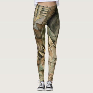 Rush Hour, New York by Max Weber, Vintage Cubism Leggings