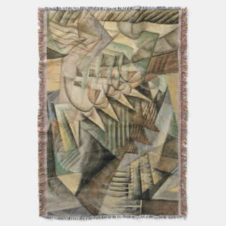 Rush Hour, New York by Max Weber, Vintage Cubism Throw Blanket