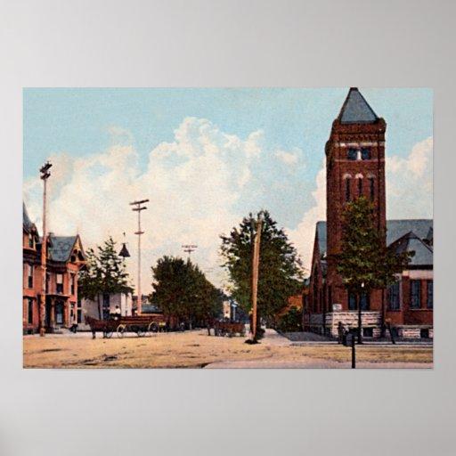 Rushville, Indiana Third Street circa 1910 Poster