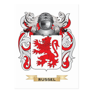 Russell Coat of Arms (Family Crest) Postcard