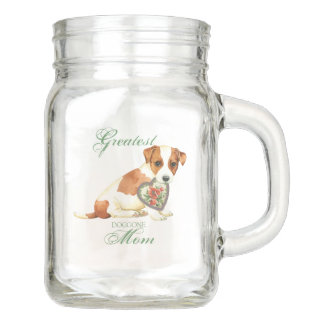 Russell Terrier Heart Mom Mason Jar