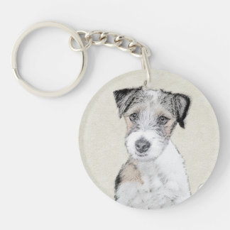 Russell Terrier (Rough) Double-Sided Round Acrylic Key Ring