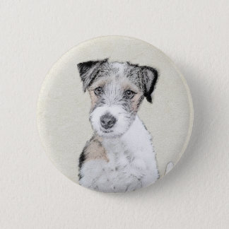 Russell Terrier Rough Painting - Original Dog Art 6 Cm Round Badge