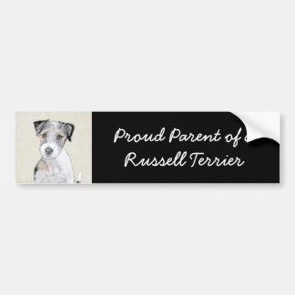 Russell Terrier Rough Painting - Original Dog Art Bumper Sticker