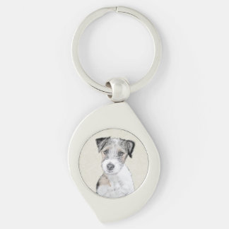 Russell Terrier (Rough) Silver-Colored Swirl Key Ring