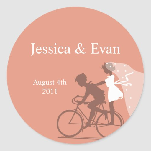 Russet Brown Bicycle Couple Wedding Sticker