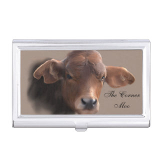 Russet Brown Cow Portrait Business Card Holder