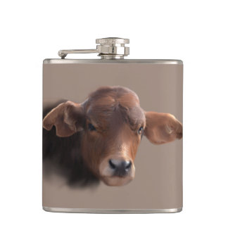 Russet Brown Cow Portrait Hip Flask