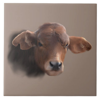 Russet Brown Cow Portrait Large Square Tile