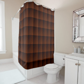 Russet Brown Flannel Check Look Squares Shower Curtain