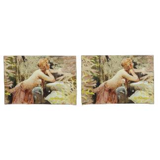 Russet Mermaid Fantasy Pair Pillow Cases
