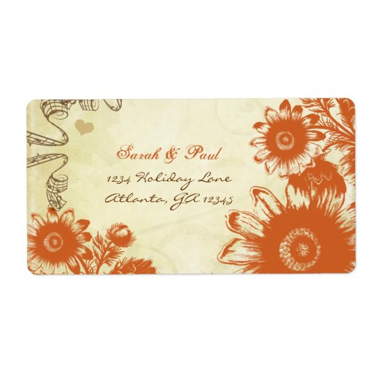 Russet Orange Vintage Flower Return Address
