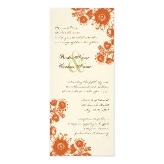 """Russet Orange Vintage Flower Wedding Invitation 4"""" X 9.25"""" Invitation Card"""