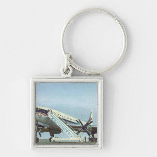 RUSSIA Aeroflot Tu 114 AIRLINER Silver-Colored Square Key Ring