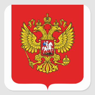 Russia Coat of Arms Square Sticker