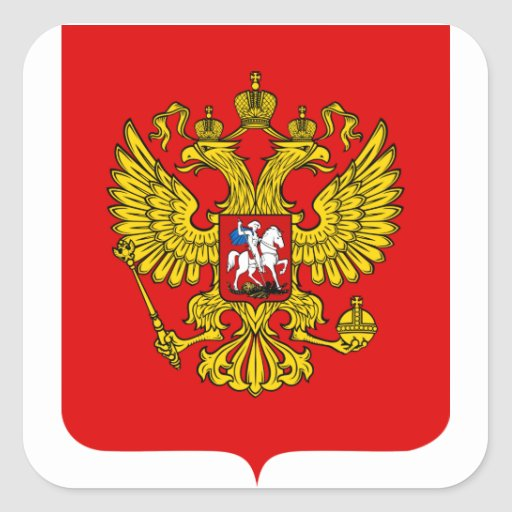 Russia Coat of Arms Square Stickers