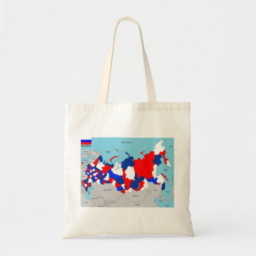 russia country political map flag tote bag
