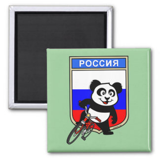 Russia Cycling Panda Square Magnet