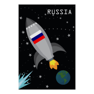 Russia Flag Rocket Ship Poster