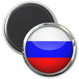 Russia Flag Round Glass Ball 6 Cm Round Magnet