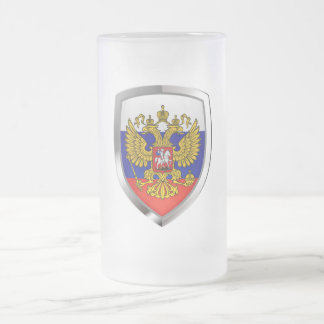 Russia Metallic Emblem Frosted Glass Beer Mug