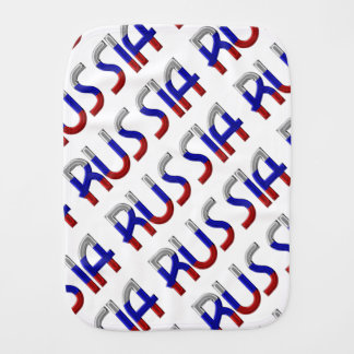 Russia Russian Flag Colors Typography Elegant Baby Burp Cloths