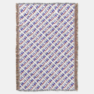 Russia Russian Flag Colors Typography Elegant Throw Blanket