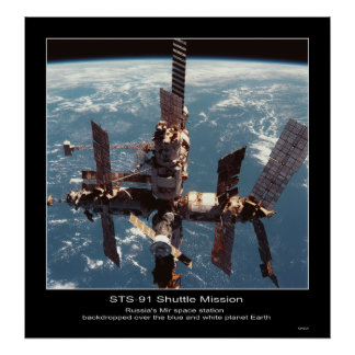 Russia's Mir Space Station over pl... - Customized Poster