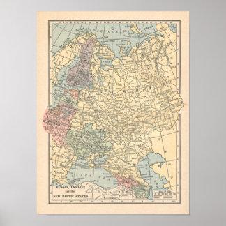 Russia Ukraine Vintage 1923 Map Print