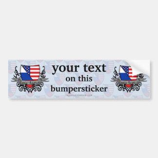 Russian-American Shield Flag Bumper Sticker