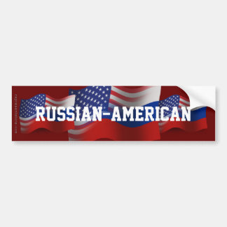 Russian-American Waving Flag Bumper Sticker