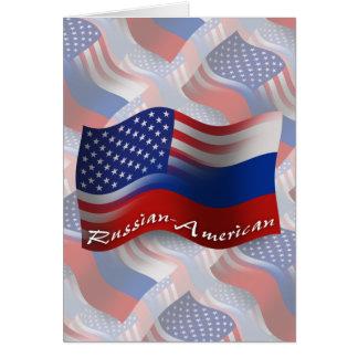 Russian-American Waving Flag Greeting Card