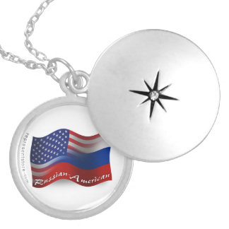 Russian-American Waving Flag Round Locket Necklace